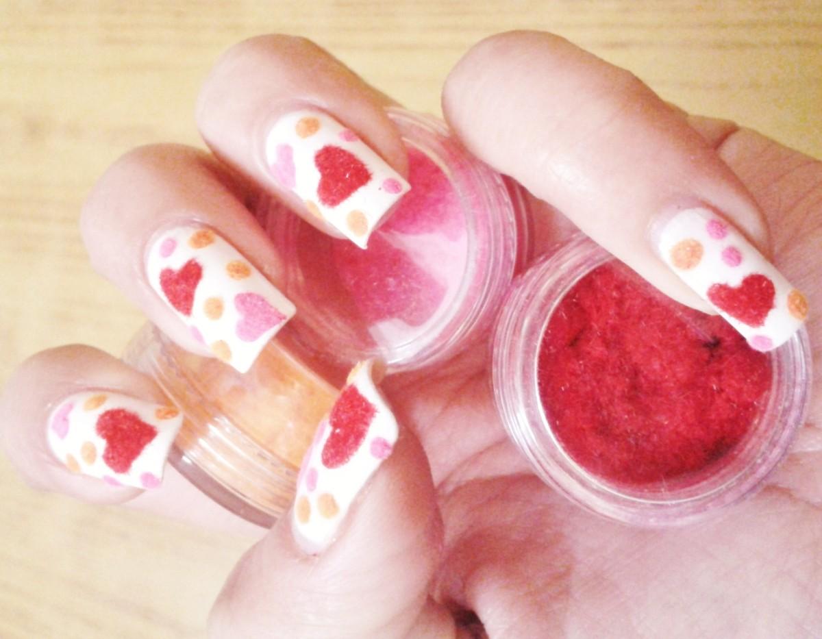 Red Pink Velvet Nail Art