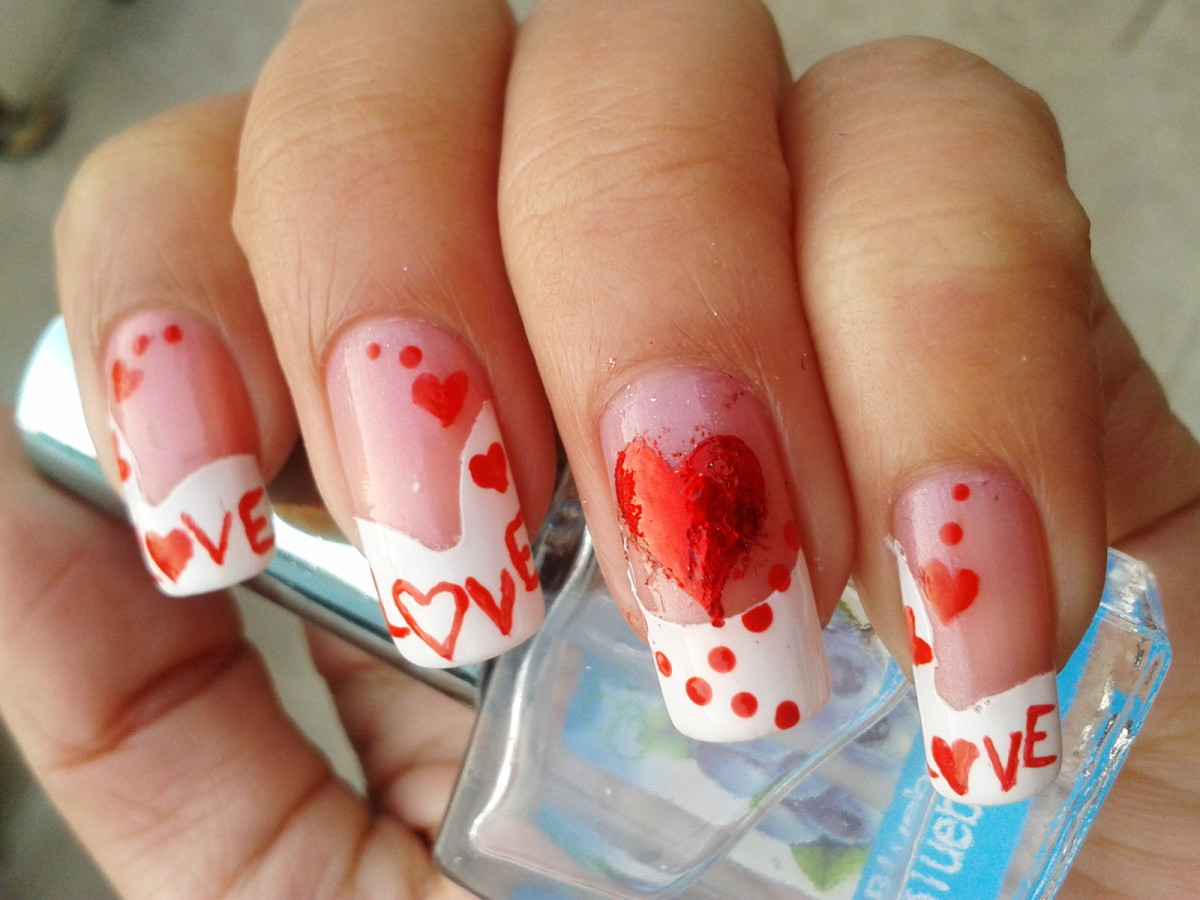 Red LOVE nail art for Valentine's Day