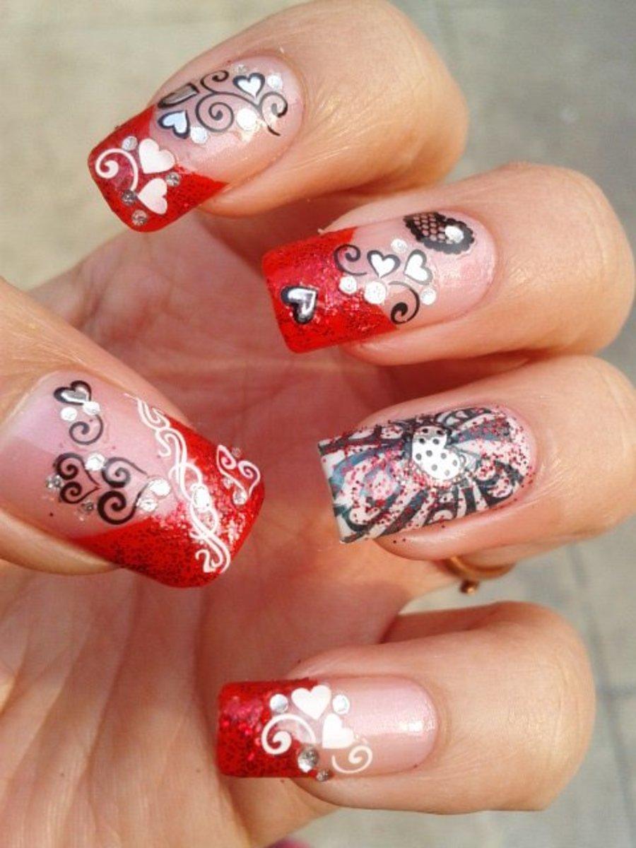 3D Heart nails mani