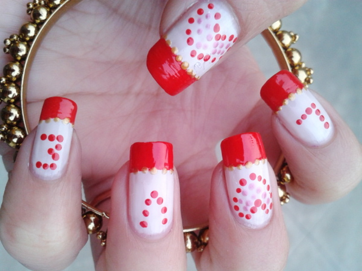Red Love Nail Art with Polka Dots