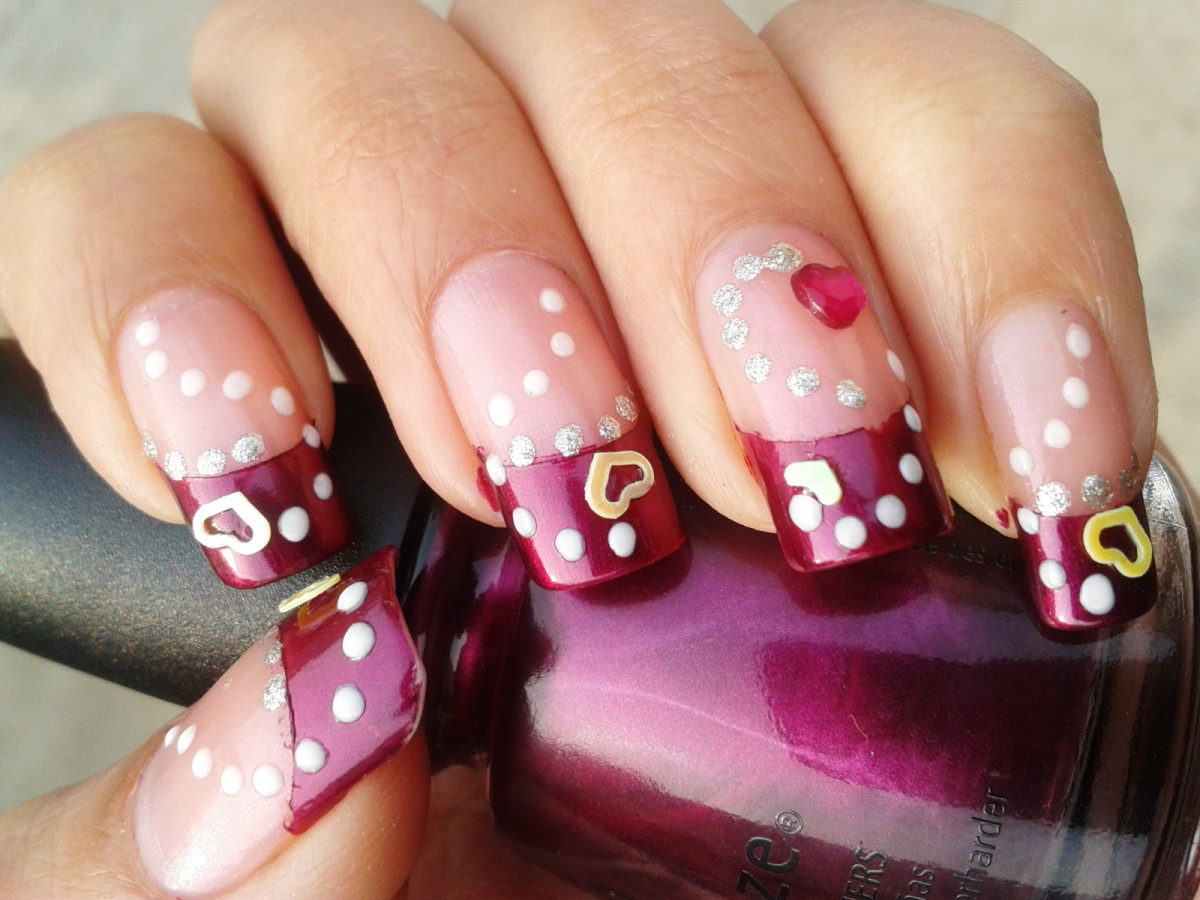Wine Heart nail art for Valentine's Day