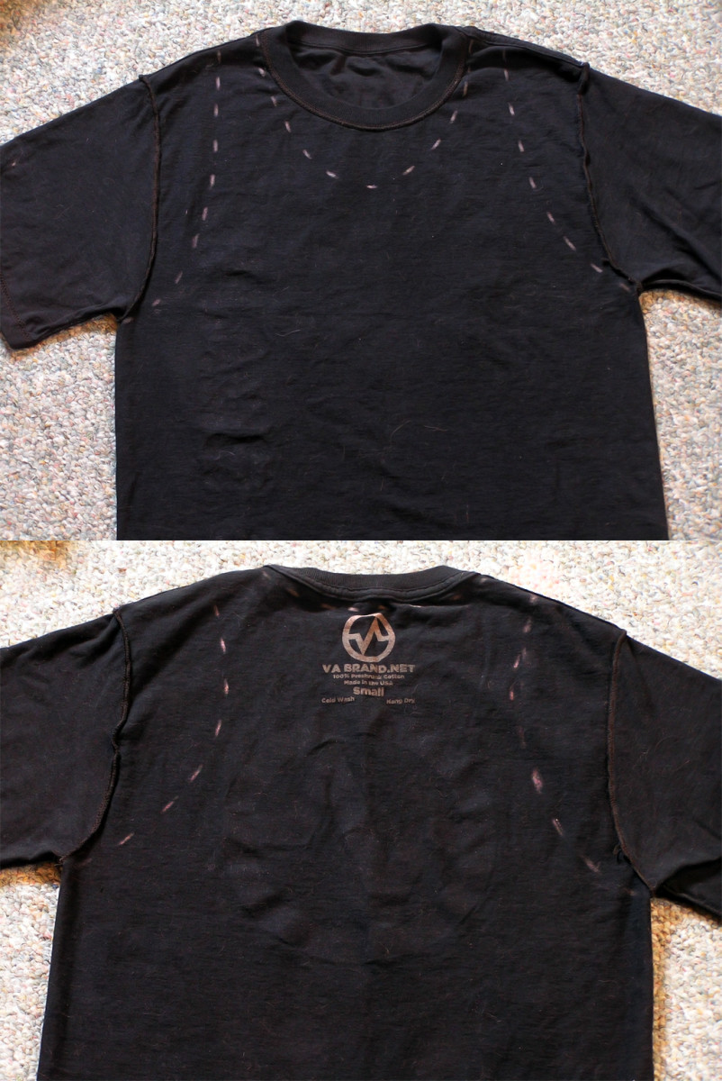 Step 1: Front (above) and back (below) of the T-shirt, marked for cutting.