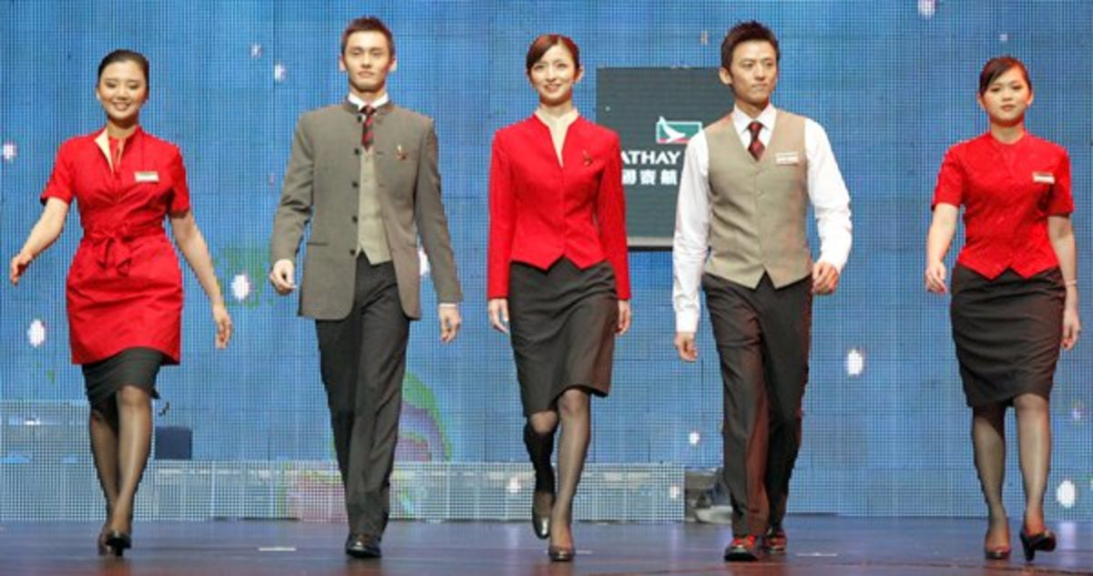 Cathay Pacific Airways new outfit for its male and female flight attendants