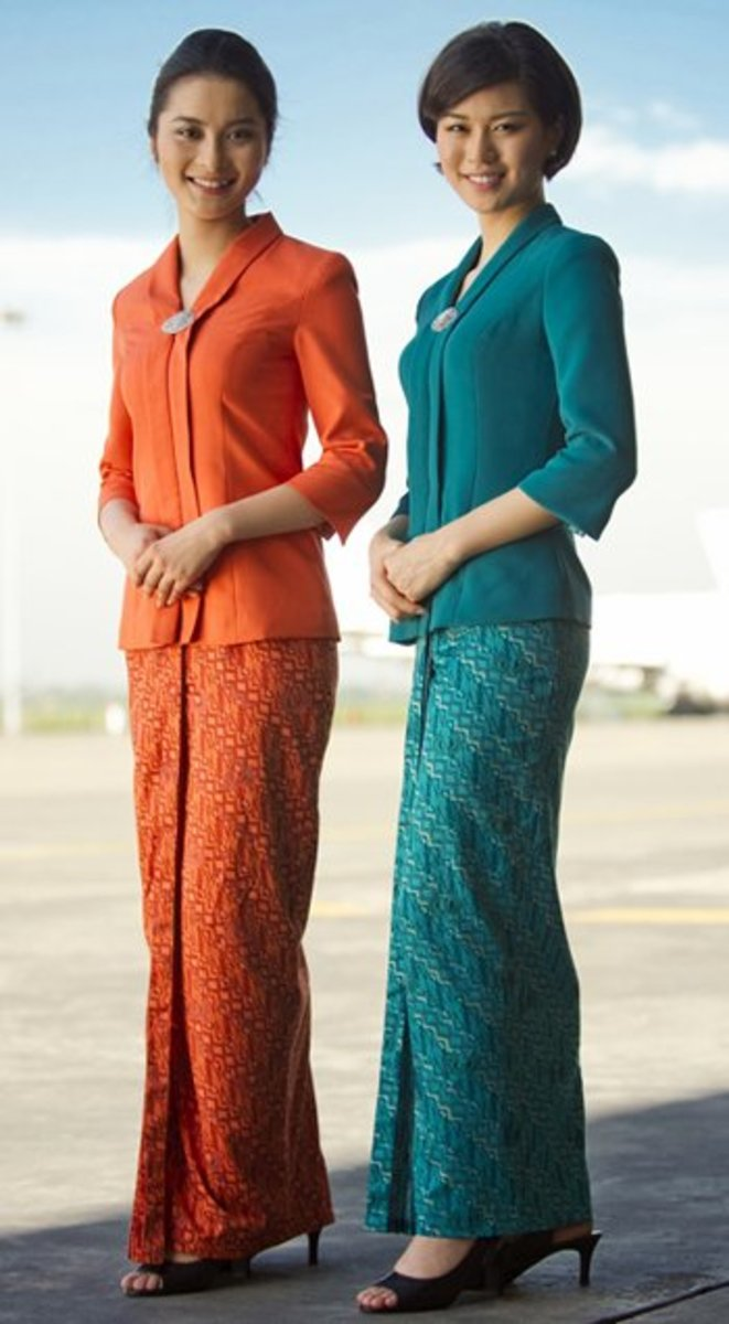 Garuda Indonesia Flight Attendants in their Sarong Kebaya Uniform