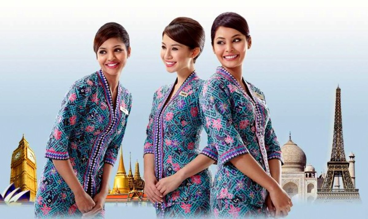 Malaysian Airline Flight Attendants in their Sarong Kebaya uniforms