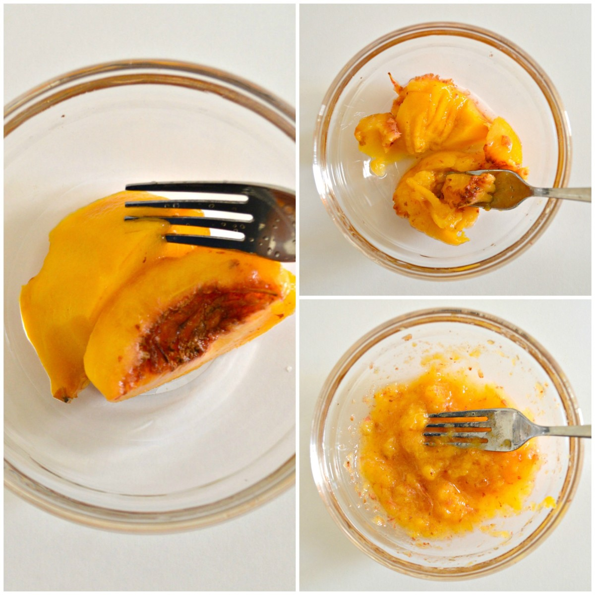 Mash up the peach with a fork.