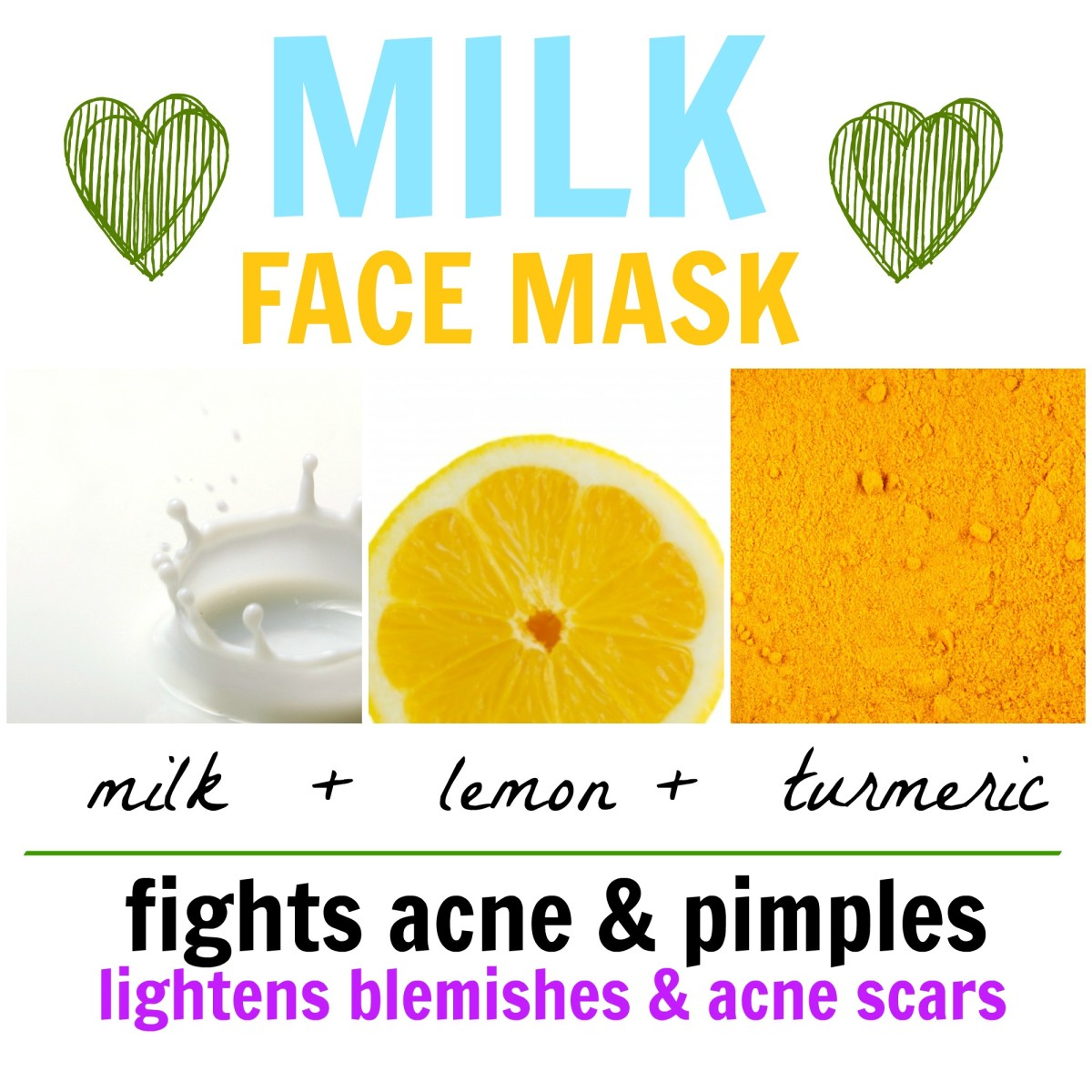 This milk face mask is handy for clearing acne and pimples, as well as diminishing blemishes.
