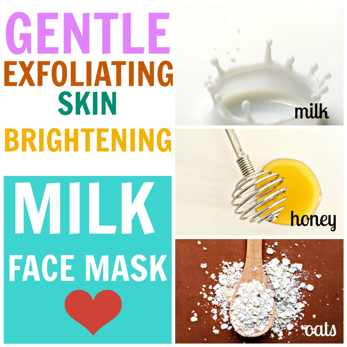 Exfoliate with a milk face mask containing honey and oats to reveal bright, beautiful & glowing skin.