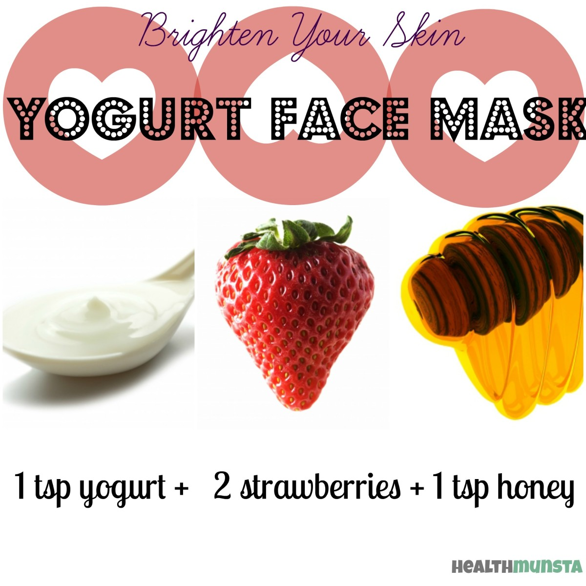 The goodness of strawberries plus yogurt and honey, gives an awesome skin brightening face mask.
