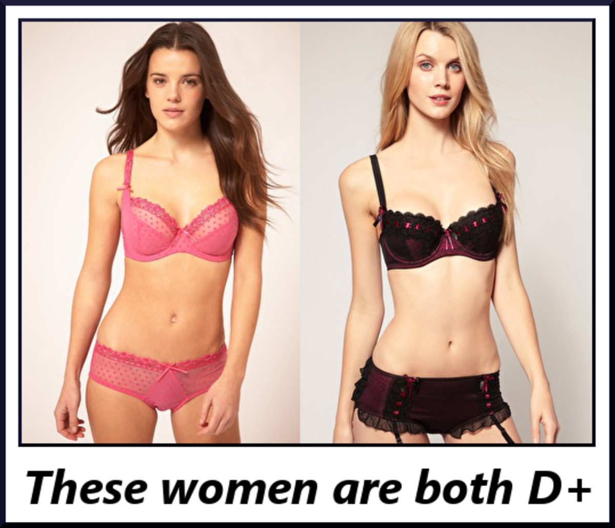 The differences between these women's underbust measurements (band size) and bust measurements are about 5 inches, which puts them in a DD cup.