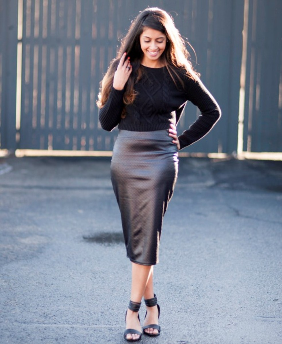 Women Wearing Leather Skirts