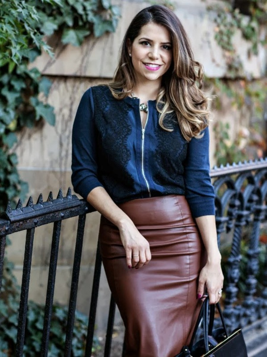 Wonderful  Chic In Leather Skirt And Cosy Jumper  Skirts Lady And Mail Online
