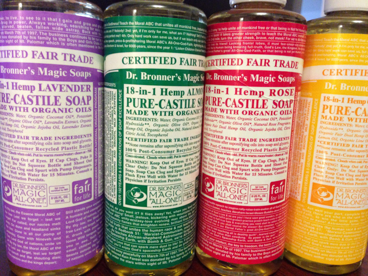 Dr. Bronners Liquid Castile Soap is a main ingredient.
