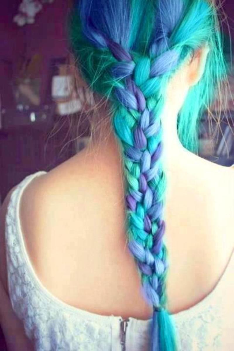 Braided blue hair