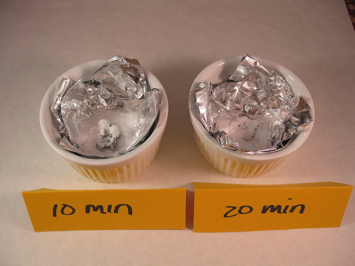 10 minutes versus 20 minutes:The two earrings, each in their respective bath, just before water was added.