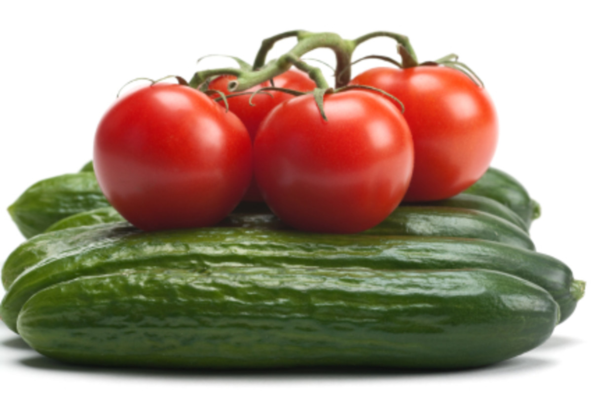 Cucumbers and tomatoes contain vitamins that can improve your skin's health whether applied topically or ingested.