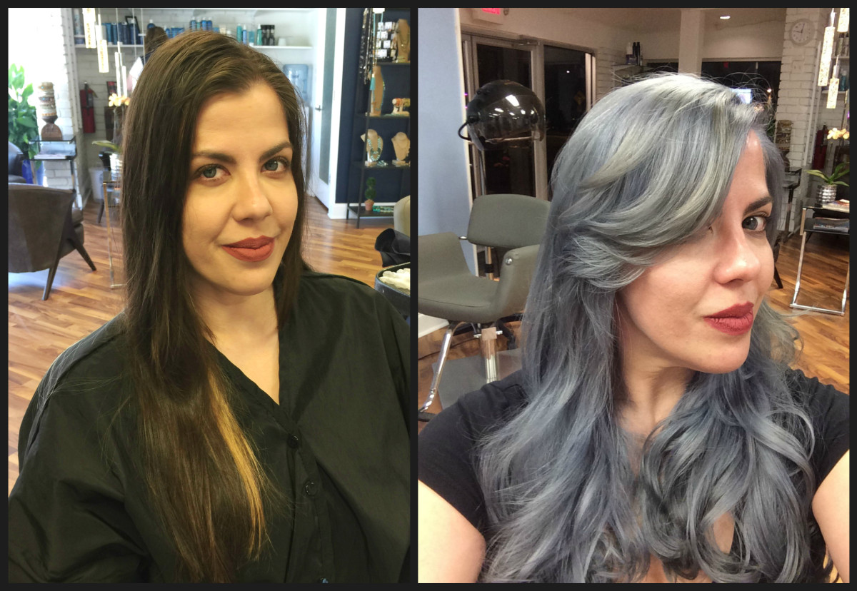 Master stylists Les Bouska and Donna Harris of Atlanta Hair Studio collaborate to create a dramatic version of Guy Tang's SilverMetallic. In an 8 hour salon session,  dark, processed hair turns into a scintillating silver sensation.