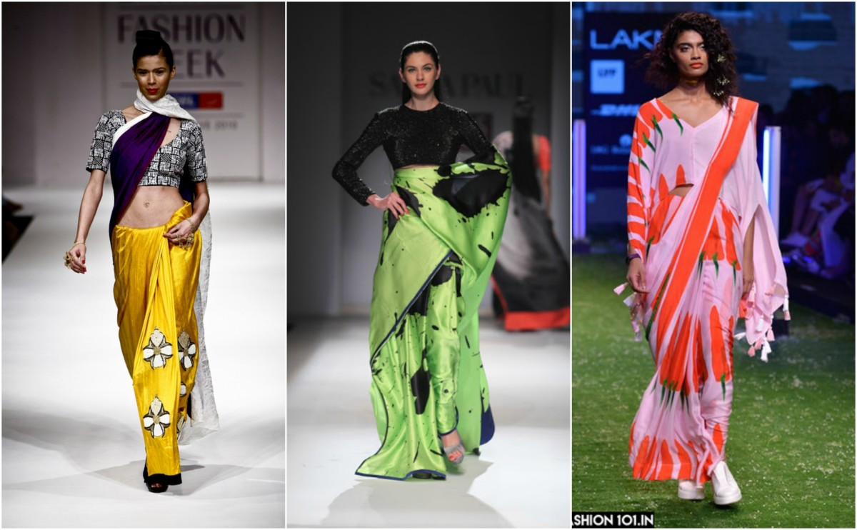 Masaba Redefined The Neon Saree Like No Other Designer, Especially For  Satya Paul. Most Recently, She Paired Full Sleeved Blouses With Big, Bold  Printed ... Awesome Design