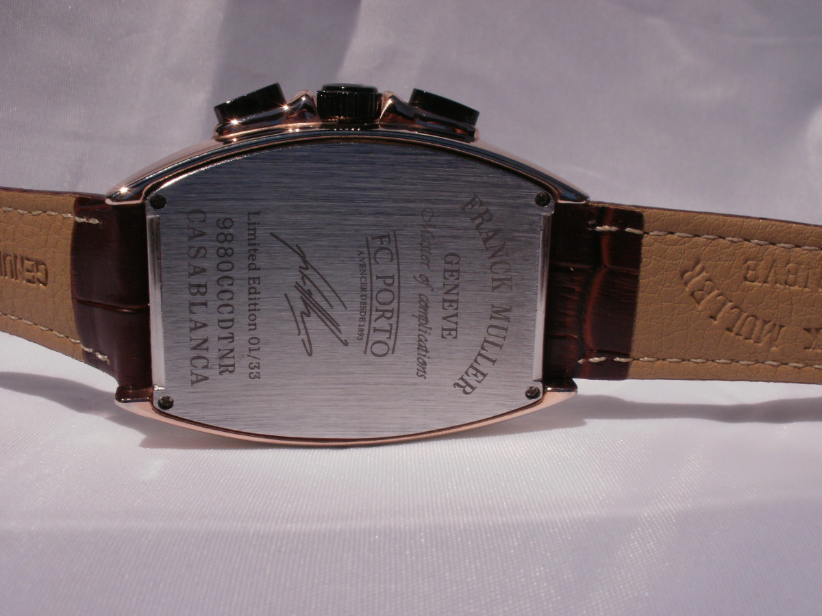Back plate is inscribed with bogus information identifying the watch manufacturer as Franck Muller.