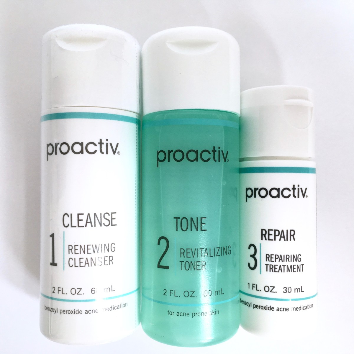 The Proactiv Solution 3-Step System includes a cleanser, toner and repairing lotion.