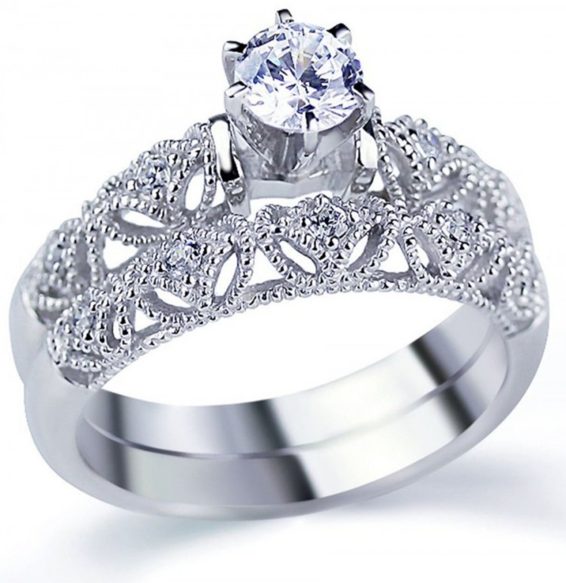 Rhodium-plated sterling silver 925 ring