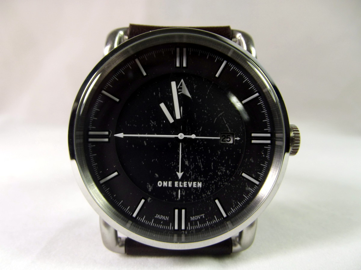 One Eleven CMP0002 solar powered quartz watch with leather strap