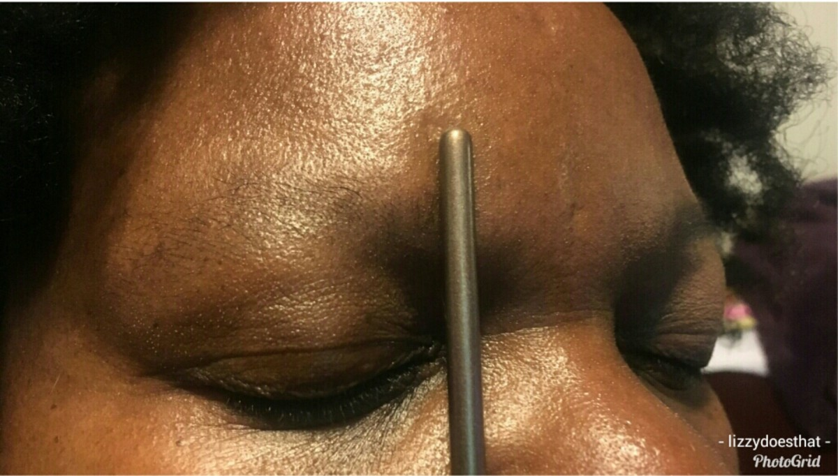 Step 1: Making a mark for the beginning of the brow.