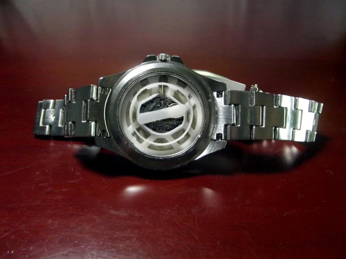 Bernoulli Wayland Men's Watch with caseback removed.
