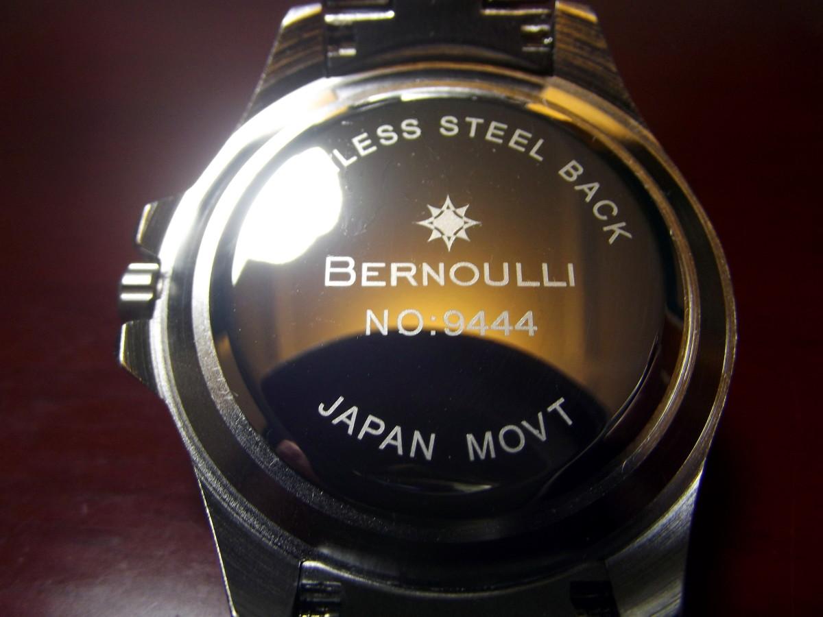 Stainless steel caseback of  Bernoulli Wayland Men's Watch