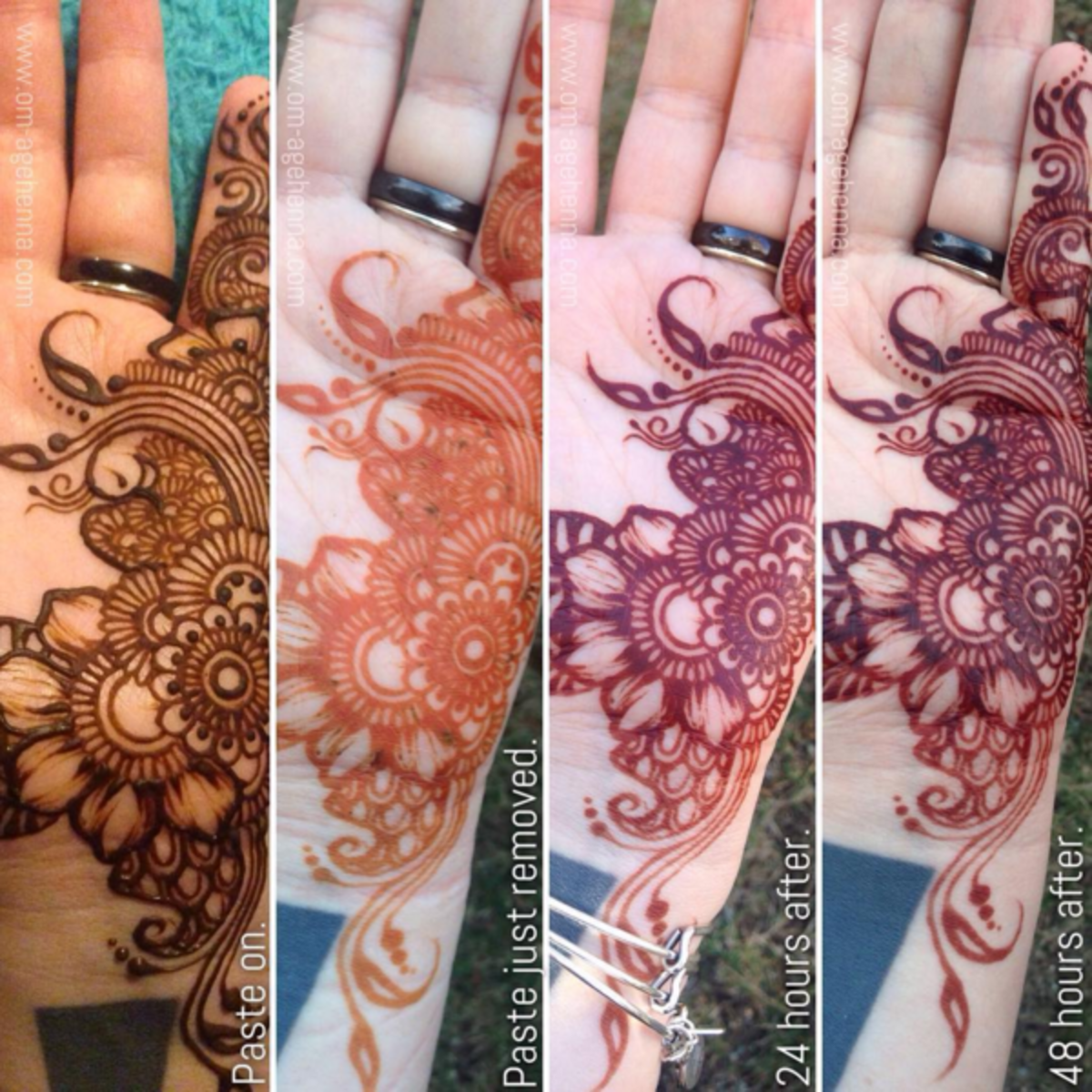 The henna stain darkens over time and usually lasts about a week, but this can be lengthened by using the liquids mentioned above.