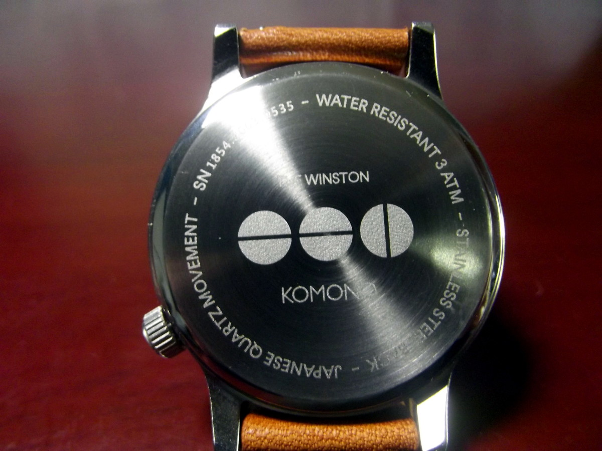 Caseback of  Komono Winston Quartz Watch