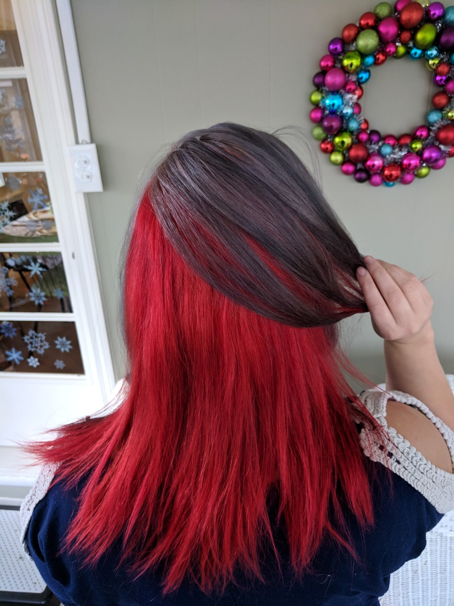 This is my gray and red hair from the back.