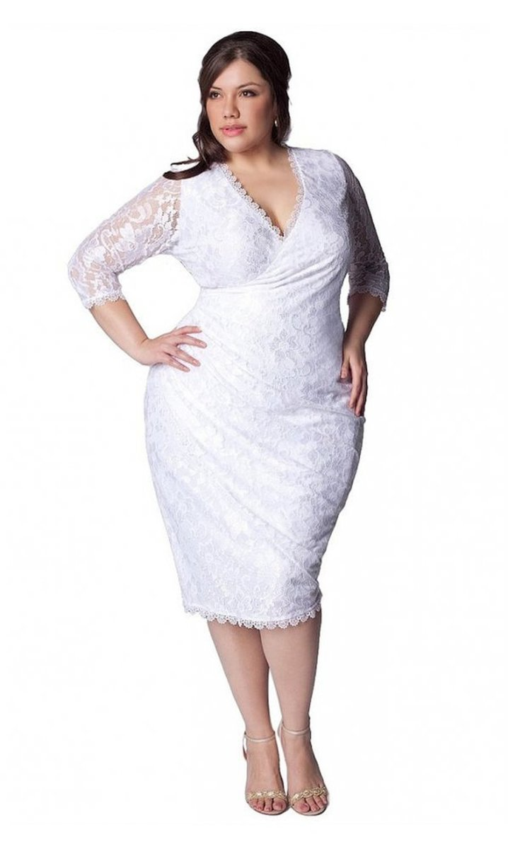The IGIGI Women's Plus Size Gisela Wedding Dress —Elegant faux wrap silhouette with V-neckline,  this dress is cut to enhance & define your curves.