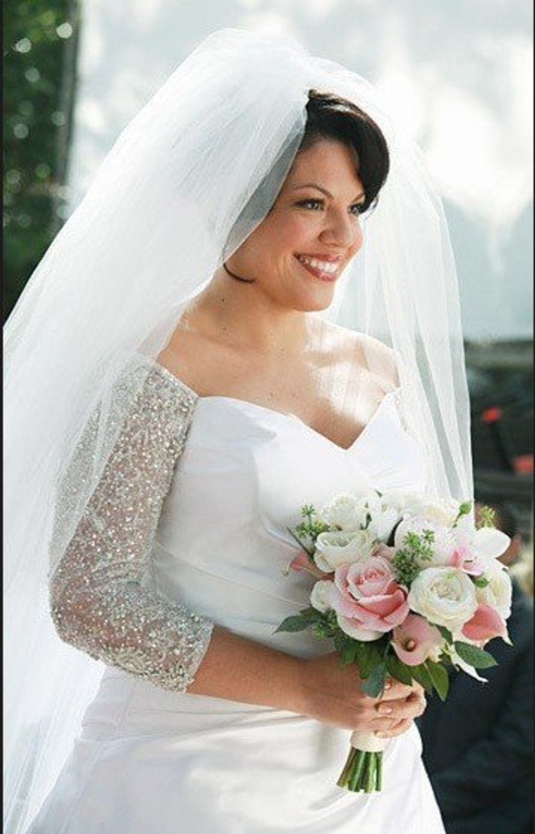 Boat neck wedding gown, Sara Ramirez from Grey's Anatomy by Amsale, posted by Prisca Oktavia Dwi Putri on December 21, 2014