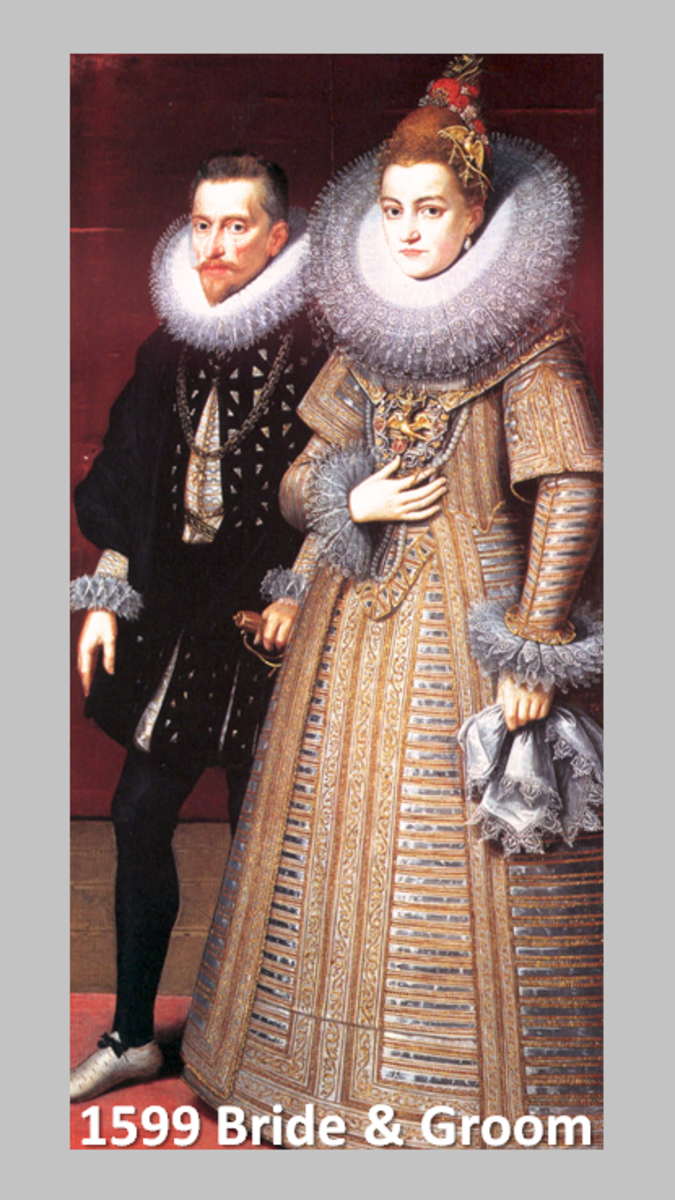 Portrait of a 1599 bride and groom.