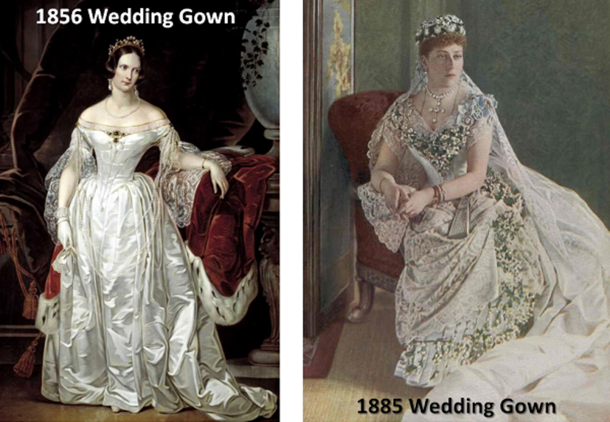 Antique wedding gown styles of the 1800s