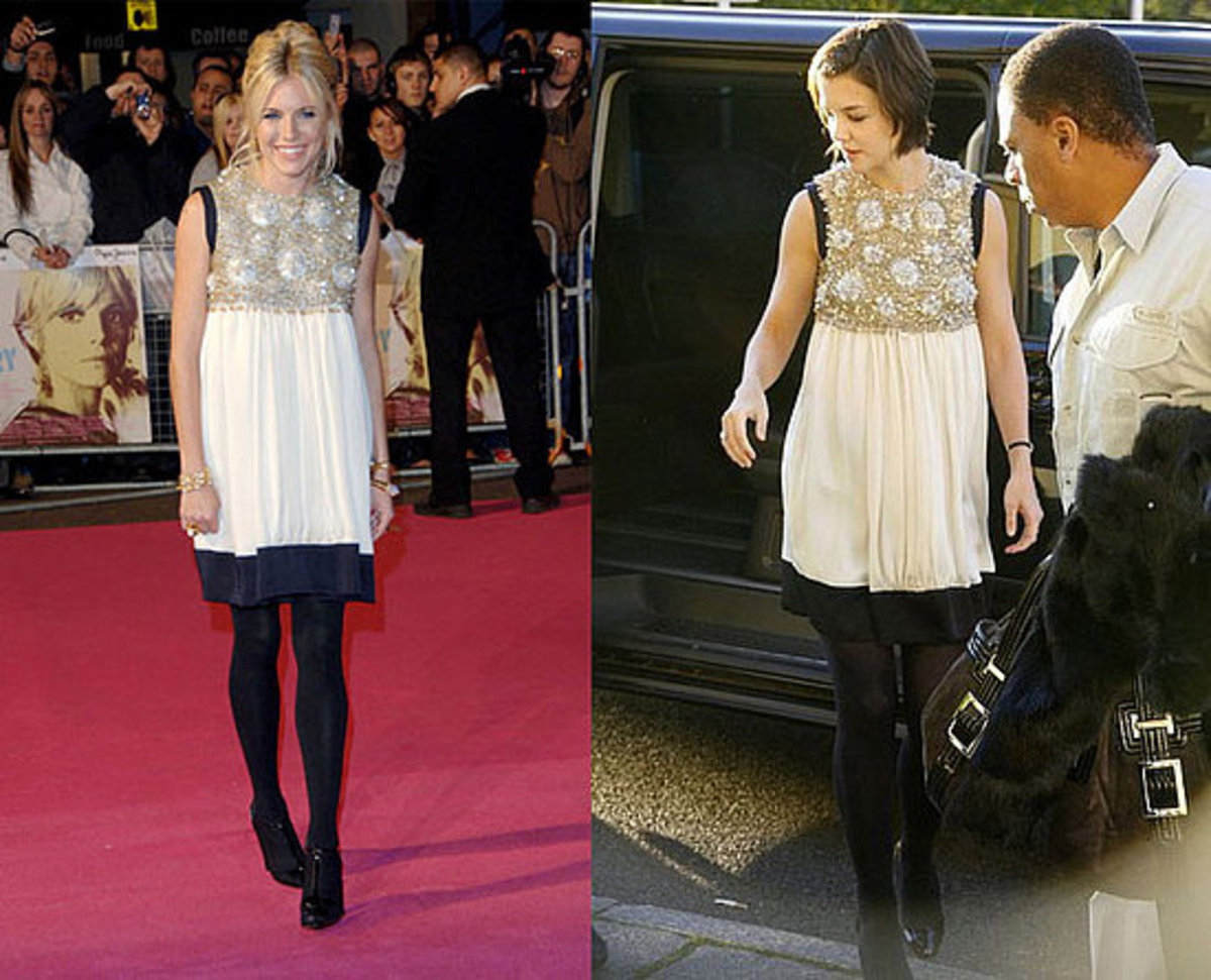 On the left, Sienna Miller wearing the Balenciaga babydoll dress. On the right, Katie Holmes wearing the same dress seven months later!