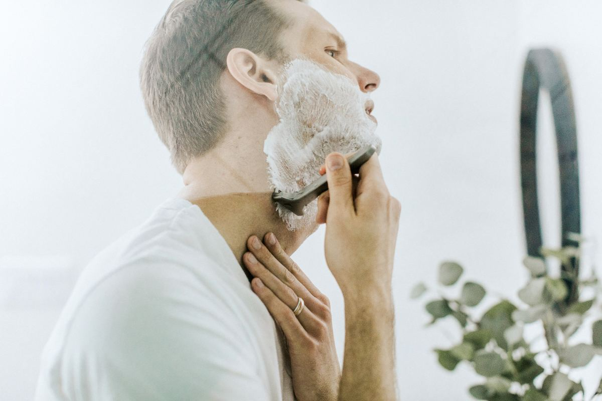 Remember to use shaving cream to reduce the chance of razor burn!