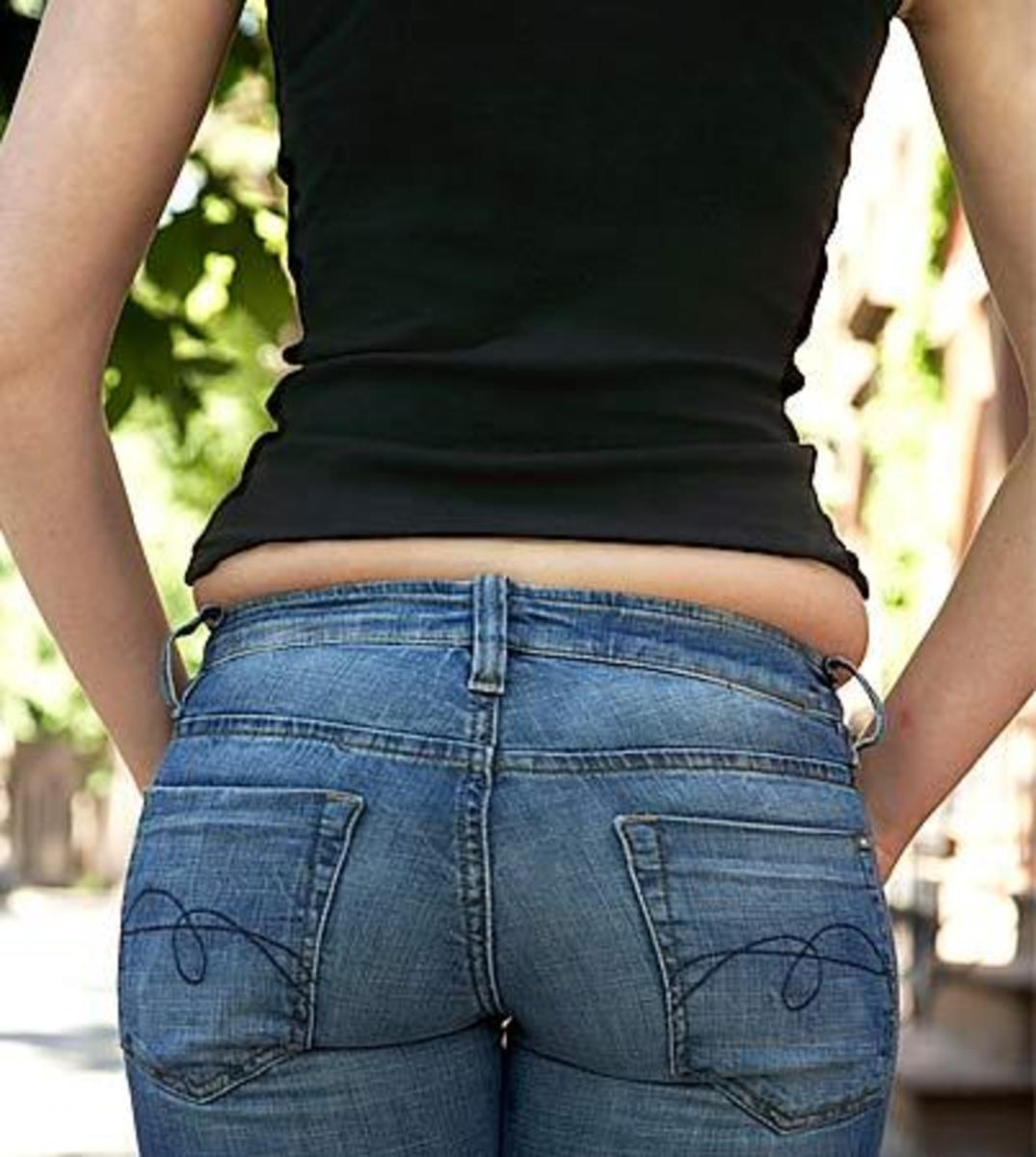 "Here's a classic example of the dreaded ""muffin top"" that most of us know so well."
