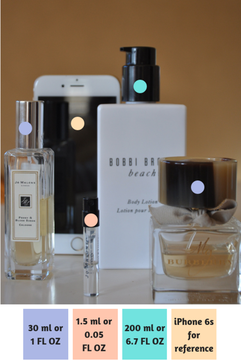 A comparison of the various sizes of perfume bottles including one perfume lotion. The iPhone 6S stands at 5.44 inches or 13.8 cm tall.