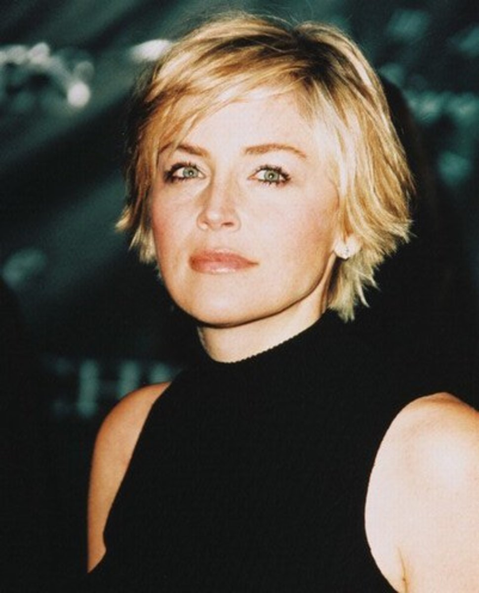 Sharon Stone is another celeb. with fine hair.  This short style is cute.  You have to be careful though, just because a style is short doesn't necessarily mean it's easy to style.