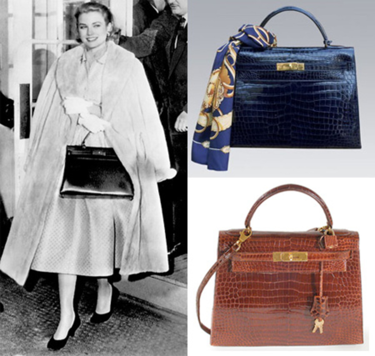 Grace Kelly with the Hermes handbag named in her honor