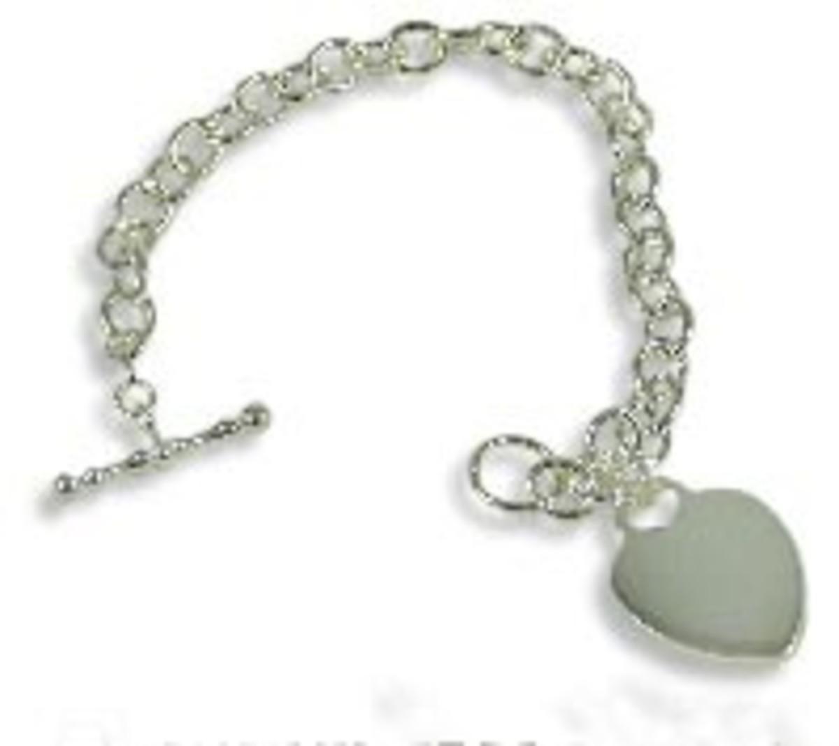 Tiffany-style silver heart bracelet.