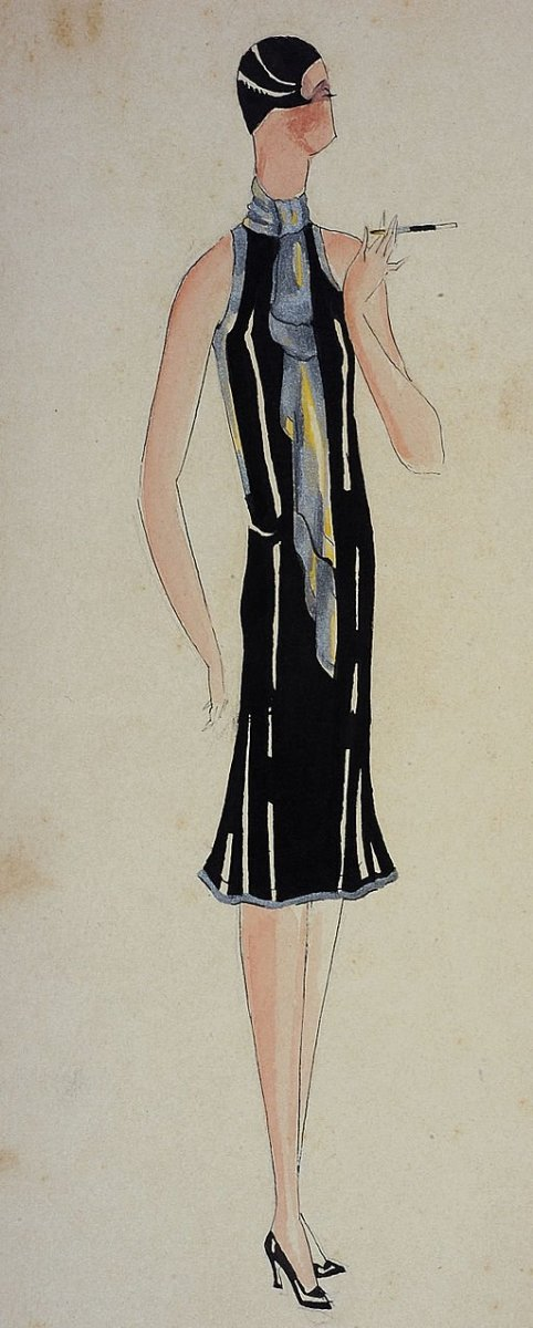 A classic flapper-style dress from the early 20th century.