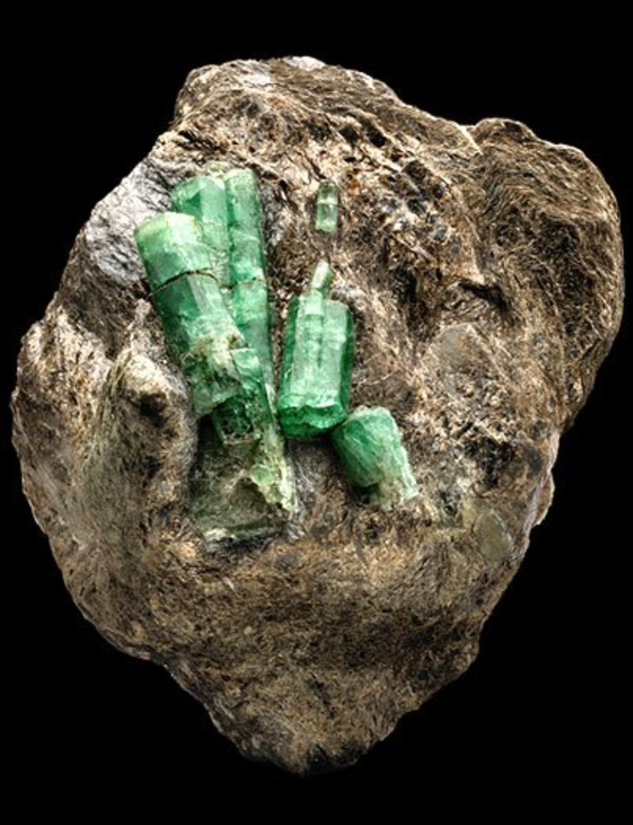 Emerald crystals in their matrix