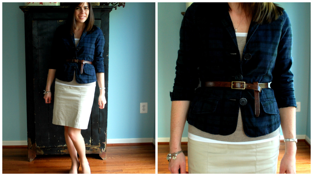 Hourglass and pear shapes look good with a belt to accentuate the waist.