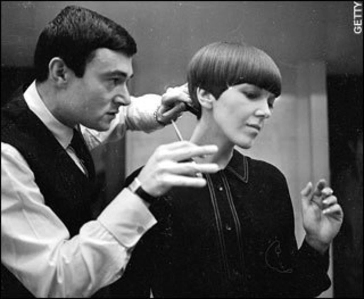 Groundbreaking stylist Vidal Sassoon cutting Mary Quant's hair.