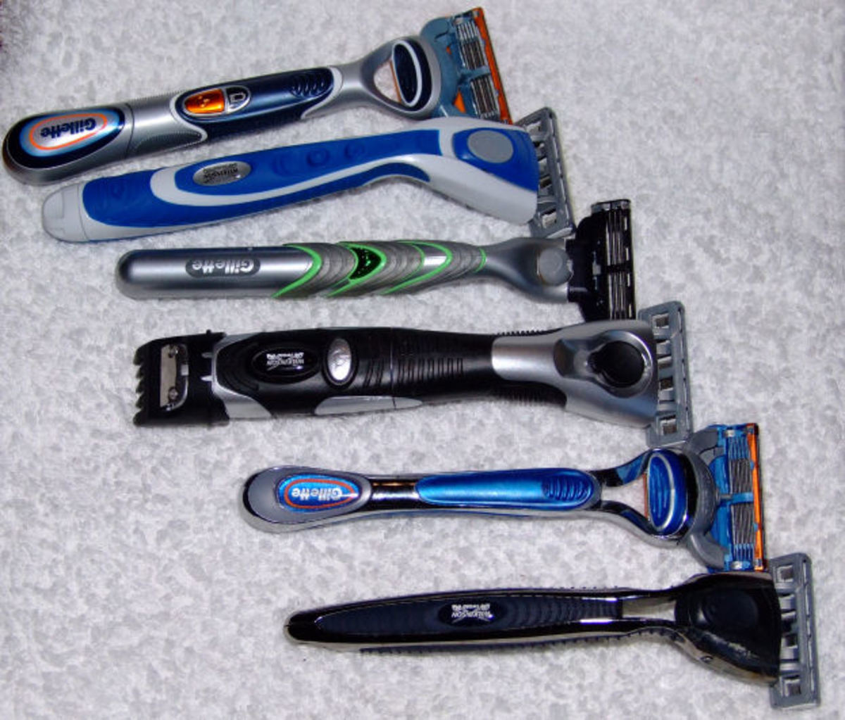 Razor Array Top to Bottom Gillette Fusion Power Wilkinson. Sword Quattro Energy. Gillette Mach3. Quattro Titanium freestyle. Gillette fusion (not powered). Wilkinson Sword Quattro (not powered)
