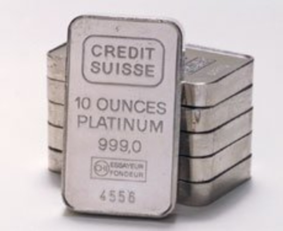 10 ounce bars of platinum bullion.