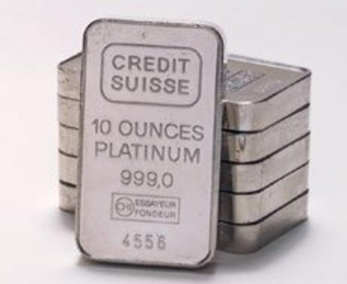 10 ounce bars of platinum bullion.